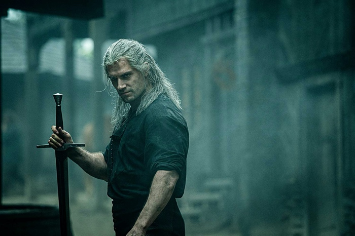 Geralt of Rivia with sword in The Witcher season 1