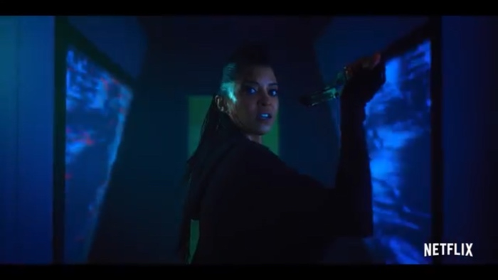 Quellcrist Falconer catches a knife in Altered Carbon season 2