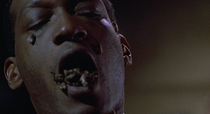 Candyman with bees in his mouth and on his face in Candyman 1992