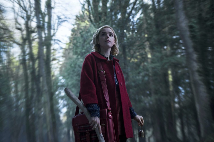 sabrina Spellman in the woods in chilling adventures of sabrina part 1