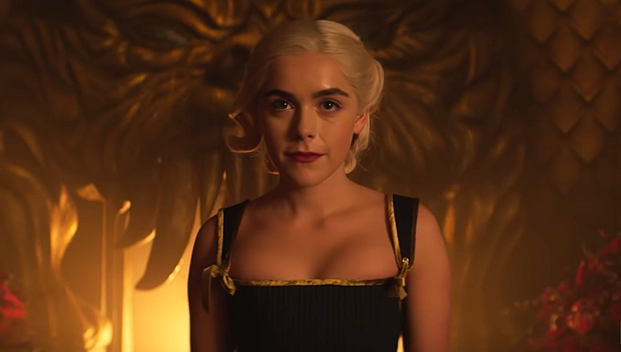 Sabrina Spellman on the throne in Hell in Chilling Adventures of Sabrina part 3