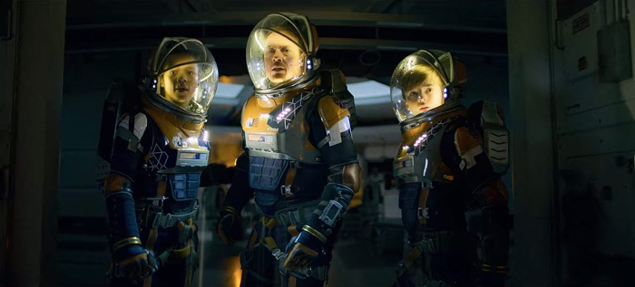 Judy, John and Will Robinson in space suits in Lost in Space season 2
