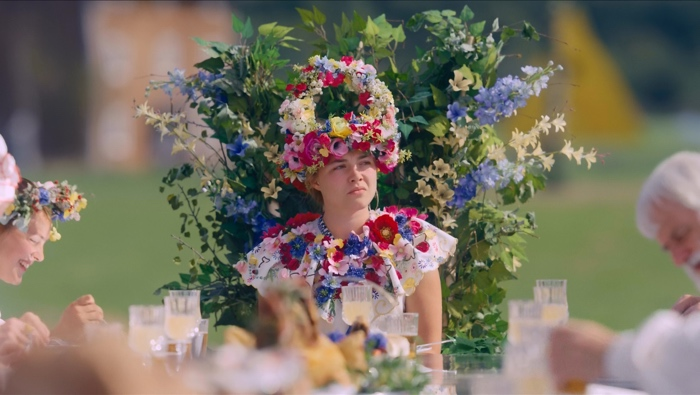 Dani as May Queen at the head of the table in Midsommar 2019