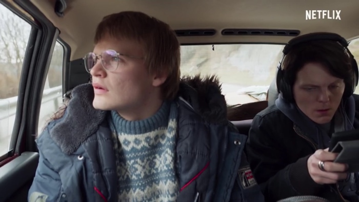 Magne and Laurits in car on their way to edda in Ragnarok season 1