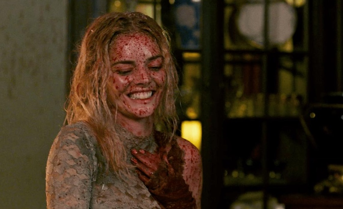 Samara Weaving as the bride Grace covered in blood in Ready or Not 2019