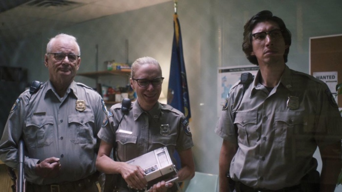 Cliff, Mindy and Ronnie in the police station in The Dead Don't Die 2019