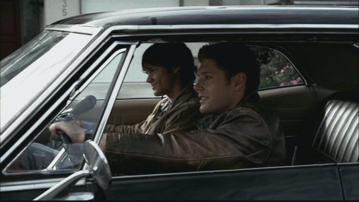 Sam and Dean Winchester in the Impala Baby in Supernatural season 1