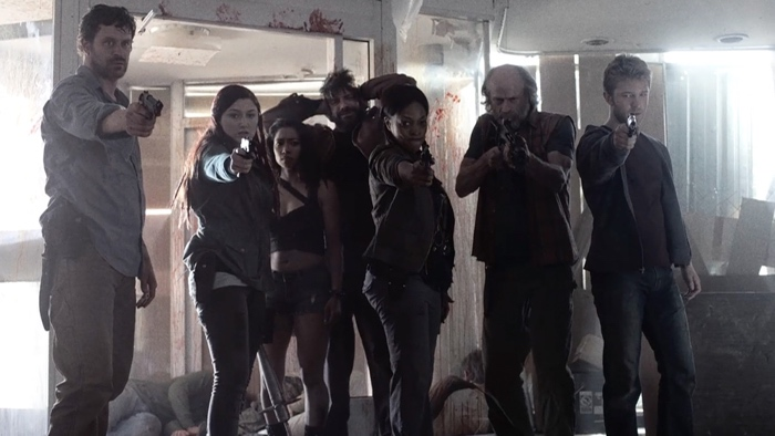 Garnett, Addy, Cassandra, Murphy, Warren, Doc and Mack in Z Nation season 2