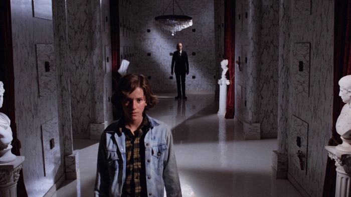 Mike in the mausoleum with the Tall Man in Phantasm 1979