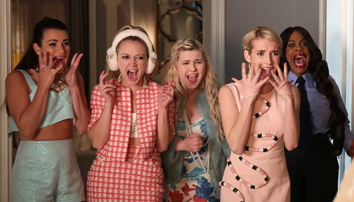 Hester, Chanel No.3, Chanel No.5, Chanel and Denise screaming in Scream Queens season 1