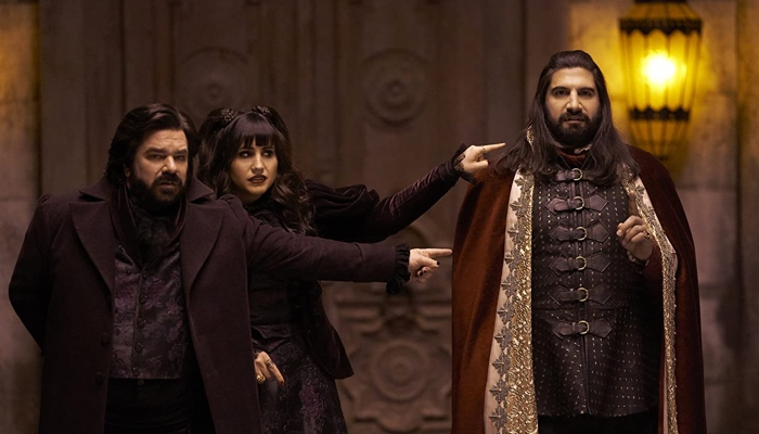 Laszlo and Nadja pointing at Nandor in What We Do in the Shadows season 1