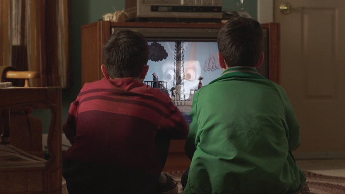 Eddie and Mike watching Candle Cove in Channel Zero season 1 Candle Cove