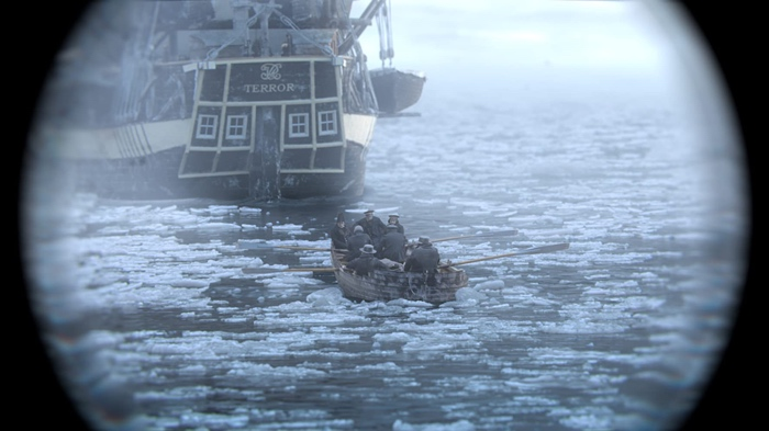 Men rowing in a boat from the Erebus to the Terror in The Terror season 1