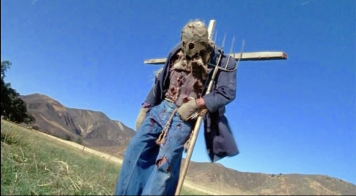 Bubba being shot as the Scarecrow