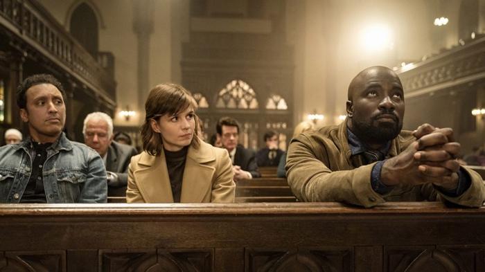Ben, Kristen and David in church in Evil season 1