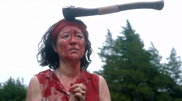 Nao with an axe on her head in One Cut of the Dead 2017
