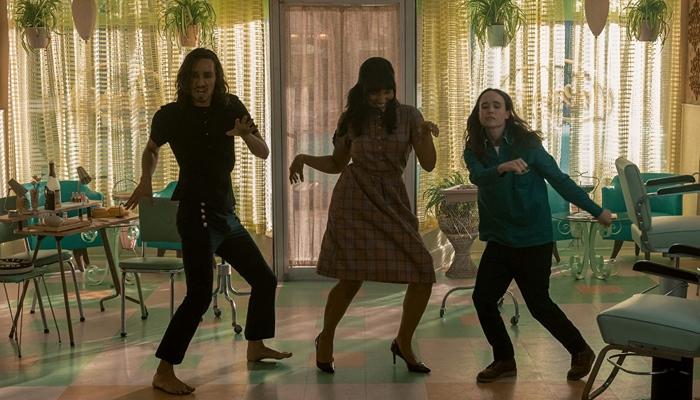 Klaus, Allison and Vanya dancing in The Umbrella Academy season 2