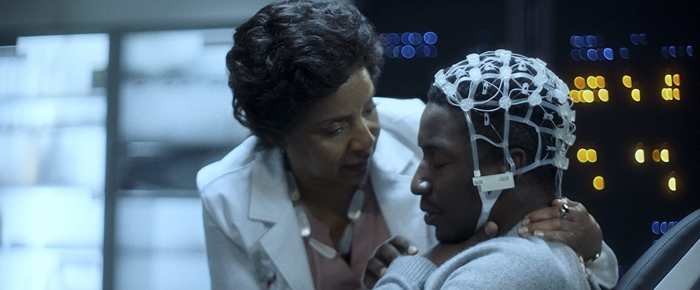 Dr Lilian Brooke hooks up Nolan to the device in Black Box 2020