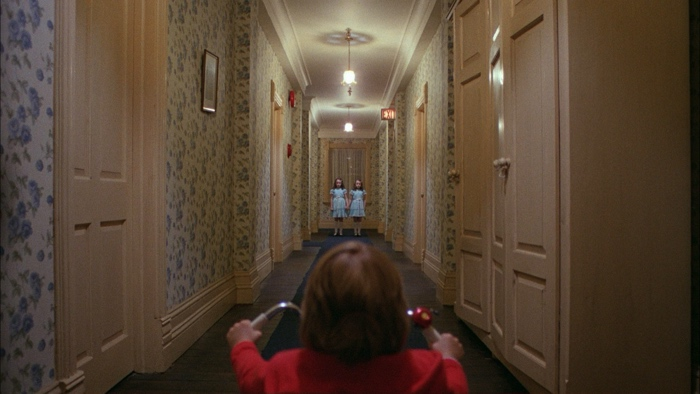 Danny on his tricycle sees the twins in The Shining 1980