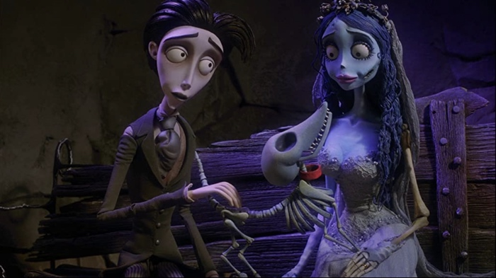 Victor and Emily and Scarps in Corpse Bride 2005