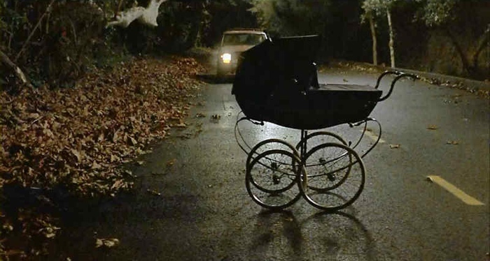 baby carriage on the road in Dead End 2003