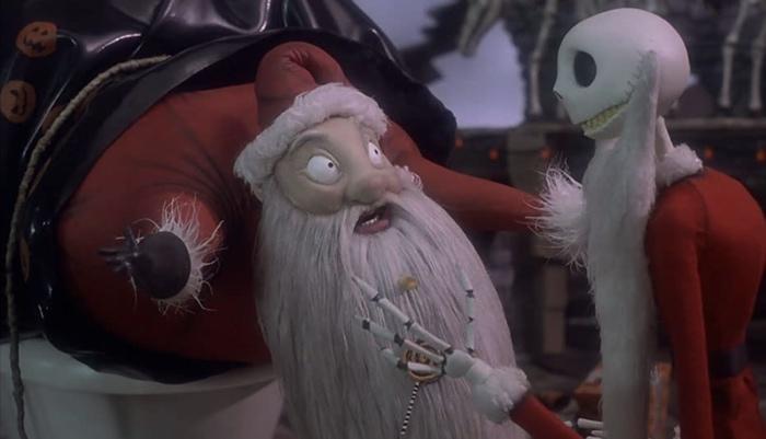 Jack has captured Santa in The Nightmare Before Christmas 1993